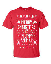 Merry Christmas Ya Filthy Animal Short Sleeve Shirt In Red