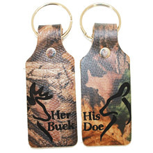 Buck and Doe Leather Mossy Oak Key Chain Set