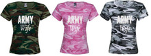 Army Wife T Shirt Camo and Bling Letters