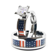 Patriotic American Flag USA Wedding and Engagement Ring Set