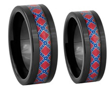 Black Tungsten Rebel Flag Rings Set For Him and Her
