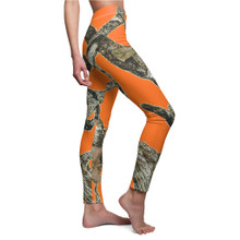 Ladies Orange Camouflage Leggings Outdoors Pattern