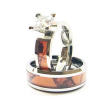 Orange Camouflage Wedding Rings For Couples With Stone - Titanium