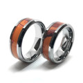 Orange Camo Band Couples Ring Set