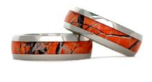 Orange Camouflage Wedding Rings
