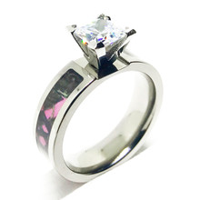 Pink Camo Wedding Engagement Ring for Her