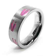 Women's Hunting Wedding Ring with Pink Deer Tracks Ring For Her