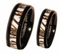 White Camouflage Wedding Ring Set For Couples