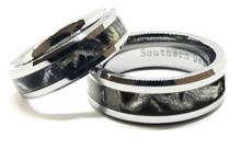 Black Camouflage Wedding Band Set