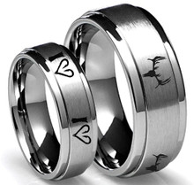 Fish Hook Hearts and Deer Skull Couples Rings