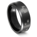Men's Hunting Wedding Band Black Deer Skull and Tracks On Titanium