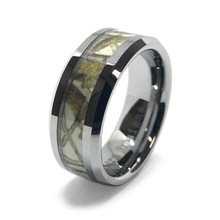 White Camo on Silver Ring - Snow Camouflage
