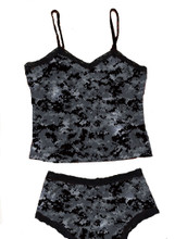Army Digital Black Camo Lingerie Outfit - Boy Short Panties and Cami