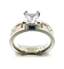 White Camouflage Engagement Ring Wedding