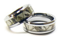 White Camouflage Wedding Band Set
