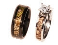 Black Camo Band and Titanium Engagement Ring For Her
