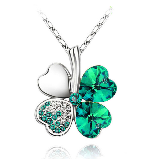 Lucky 4 Leaf Clover Pendant Necklace For Her