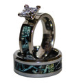 Midnight Black Camo Wedding or Engagement Set