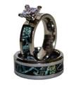 Black Camo Wedding Engagement Ring Set