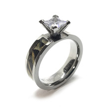Black Camouflage Engagement Wedding Ring For Her