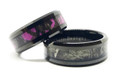 Pink Camo and Regular Camo black band ring set for couples