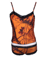 Orange Camouflage Camisole and Boy Shorts Set
