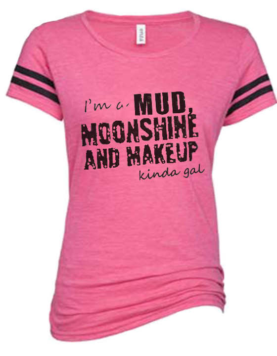 14fcad6562a Mud Moonshine and Makeup Vintage Tri-Blend Football Tee. Loading zoom. Pink  Country Girl ...