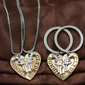 Bonnie and Clyde Couples Revolver Key Chain and Necklace Set