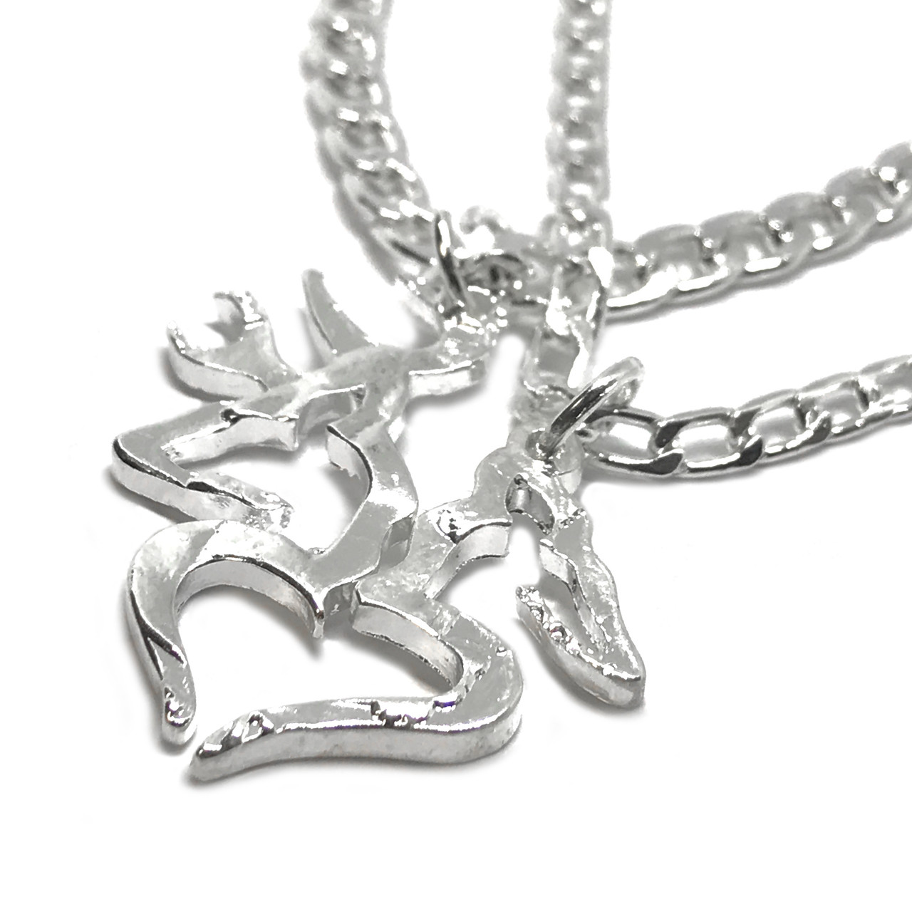 eb73a80bd6 Couples Buck and Doe With Heart Necklace Set. Image 1. Loading zoom