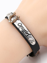 Cowgirl up Leather Cowgirl bracelet with rhonestones - best seller