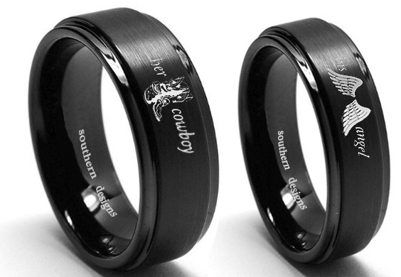 Her Cowboy And His Angel Country Couples Ring Set In Black