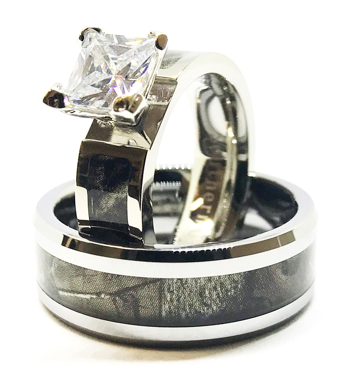Regular Camo Band And Engagement Wedding Ring Set