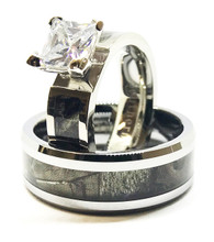 Camouflage wedding ring and band ring set for him and her