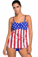 Stars and Stripes American Flag Tankini Swimsuit