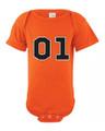 General Lee Orange Baby Onesie
