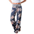Rose Print Floral Palazzo Wide Bottom Casual Pants - Lounge wear or Pajamas