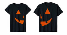 Half Pumpkin Couples Shirt Set for Halloween Costume or Party