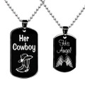 Her Cowboy and His Angel Necklaces Dog Tag His and Hers