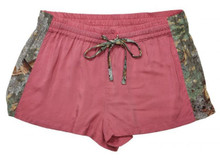 Pajamas Sleep shorts for teens and adult with camo side trim and pink rose color