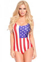 American Flag Stars and Stripes One Piece Bathing Suit For her