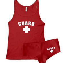 Sexy Lifeguard cami tank top and under wear boy shorts set for her - great for parties, halloween, sexy dress up and more