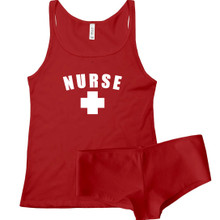 Nurse and Camisole and Boy Short Panty Set. Great For Dress up parties and semi sexy halloween parties.
