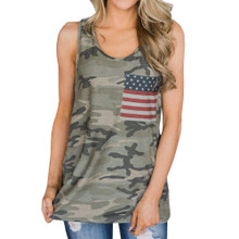 Top Selling Camo Tank Top With American Flag Red Whit Blue Pocket for Memorial Day and 4th of July