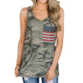 Women's Camo Tank Top With American Flag Pocket