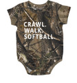 Crawl Walk Softball Camo Onesie