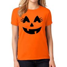 Ladies or Teen Pumpkin Halloween T Shirt With Pretty Eye Lashes