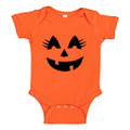 Baby Girl Onesie Pumpkin for Halloween Costume Onesie with Eye Lashes and Super Cute Jack O Latern Smile