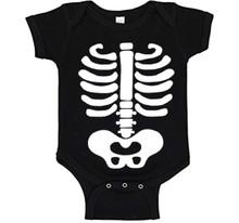Baby Halloween Costume Skeleton with Bones on Black Onesie