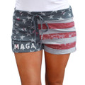 Ladies Trump Shorts With MAGA printed on red white and blue American Flag