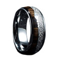 Mens Wedding Ring Wood and Meteorite Inlay with Arrow